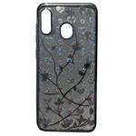 Чехол Yotrix GlitterSoft Leafs для Samsung Galaxy A30 (серебристый, гелевый)