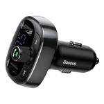 Зарядное устройство Baseus T-typed Bluetooth Charger универсальное (автомобильное, 3.4A, 2xUSB, FM-модулятор, черное)