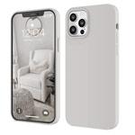 Чехол Yotrix LiquidSilicone для Apple iPhone 12 pro max (кремовый-серый, гелевый)