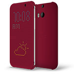Чехол HTC Dot View для HTC new One (HTC M8) (красный, пластиковый)