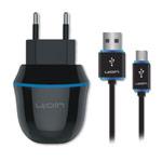 Зарядное устройство Ujoin V-Travel Charger универсальное (сетевое, 2.1A, microUSB, черное)