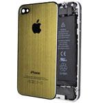 Крышка задняя для Apple iPhone 4 (золотистая, металлическая)