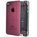 Крышка задняя для Apple iPhone 4 (красная, металлическая)