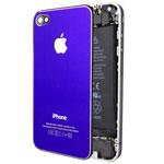 Крышка задняя для Apple iPhone 4 (синяя, металлическая)