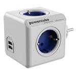 Pазветвитель Allocacoc PowerCube Original USB (220В, 4 розетки, 2 х USB, 2.1A, белый/синий)
