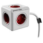 Удлинитель электрический Allocacoc PowerCube Extended (220В, 3 м, 5 розеток, белый/красный)