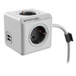 Удлинитель электрический Allocacoc PowerCube Extended USB (220В, 3 м, 4 розетки, 2 x USB, 2.1A, белый/серый)