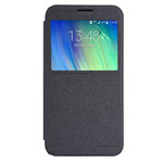 Чехол Nillkin Sparkle Leather Case для Samsung Galaxy E7 SM-E700 (темно-серый, винилискожа)