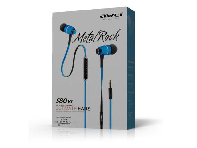 Наушники Awei Metal Rock (пульт/микрофон) (18-25000 Гц, 10 мм) (черные) (для Apple iPhone/iPod/iPad)