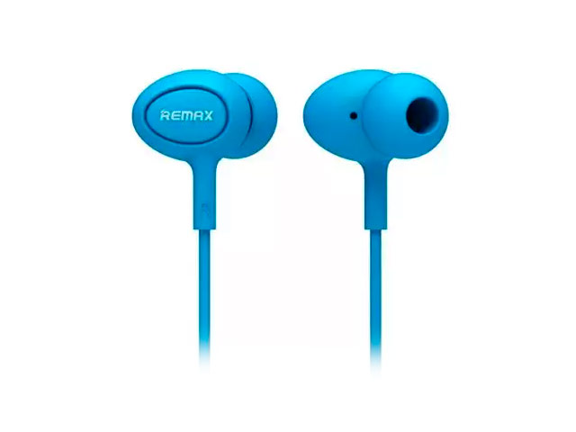 Наушники Remax Earphone RM-515 (голубые, пульт/микрофон, 20-20000 Гц, 10 мм)
