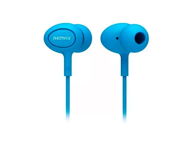 Наушники Remax Earphone RM-515 (голубые, пульт/микрофон, 20-20000 Гц, 10 мм)